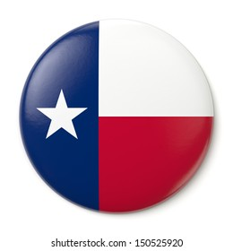 A pin button with the flag of the States of Texas. Isolated on white background with clipping path.