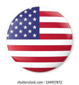 A pin button with the flag of the United States of America. Isolated on white background with clipping path.