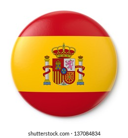 A pin button with the Spanish flag. Isolated on white background with clipping path.
