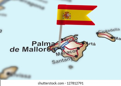 pin with flag of Spain in Palma de Mallorca with selective focus