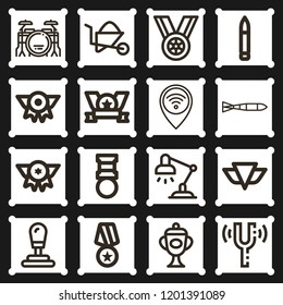 Pin, gear shift, gold medal, trophy, desk lamp, wheelbarrow, submarine torpedo, medal, bullet icon set suitable for info graphics, websites and print media and interfaces