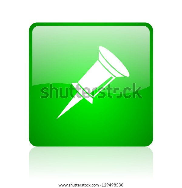 pin green square web icon on white background
