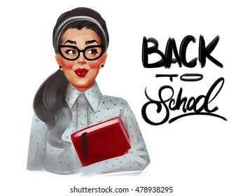 Pin up woman with glasses and red cheeks in a dotted blouse. Back to school. Raster vintage illustration isolated on a white background.