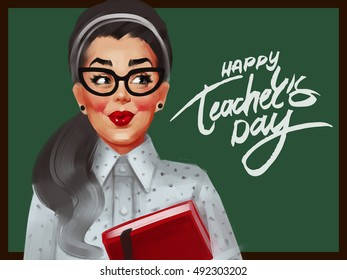 Pin up woman with glasses and red cheeks in a dotted blouse. The teacher before the green chalkboard. Happy teacher's day. Raster vintage illustration.