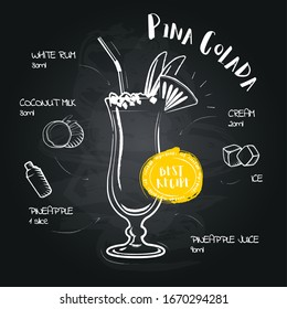 Pina Colada. Image of a cocktail and a set of ingredients for making a drink at the bar. Sketch on a black chalkboard