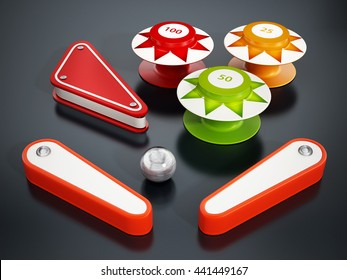Pinball bumpers, flippers and metal ball on black background. 3D illustration.