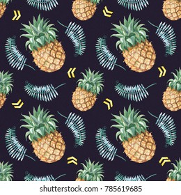 Pine apple and greem foliage. Tropical theme Seamless pattern with watercolor hand drawn illustration