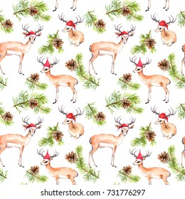 Pine christmas tree branches and deer animals in red holiday hats. Repeating pattern for Christmas. Watercolor