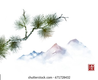 Pine tree branch and far mountains in mist on white background. Traditional oriental ink painting sumi-e, u-sin, go-hua. Hieroglyph - clarity.