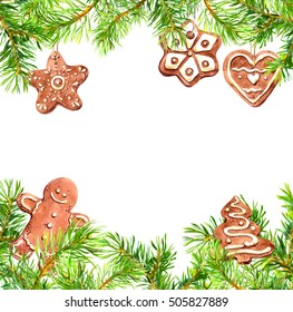 Pine tree branches, ginger man and christmas cookies border. Christmas card, empty blank. Watercolor