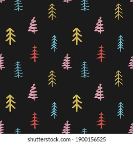 Pine tree seamless pattern. New Year and Christmas background, Illustration.