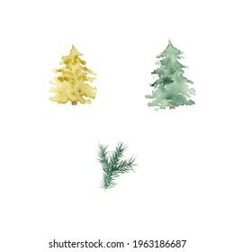 Pine trees set. Christmas trees.
