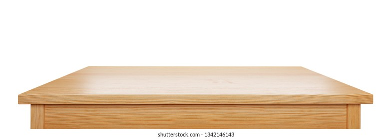 pine wood tabletop isolated on white background, useful for display or product montage, 3d rendering