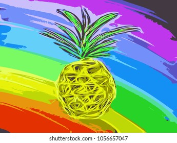Pineapple colorful background