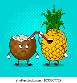 Pineapple drinks juice from coconut pop art retro raster illustration. Cartoon food character. Color background. Comic book style imitation.