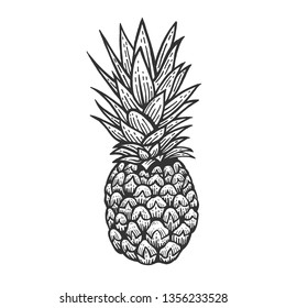 Pineapple exotic fruit sketch engraving raster illustration. Scratch board style imitation. Black and white hand drawn image.
