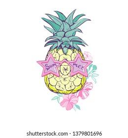 pineapple with glasses design, exotic, background, food, fruit, illustration