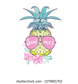 pineapple with glasses design, exotic, background, food, fruit, illustration