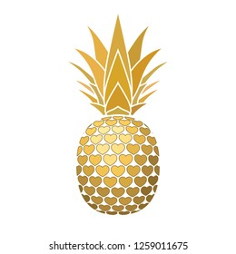 Pineapple golden sign with hearts for t-shirt. Tropical gold exotic fruit isolated white background. Love sign. Cute romantic typography graphic. Sweet summer design decoration illustration