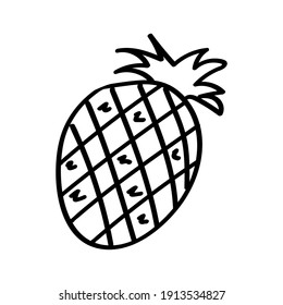 Pineapple hand-drawn, isolated on a white background. stock illustration.doodle smooth lines, vegetarian food