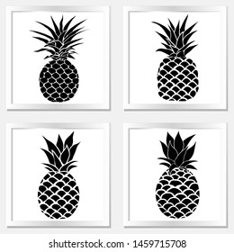 Pineapple with leaf icon. Tropical fruit isolated on white background illustration