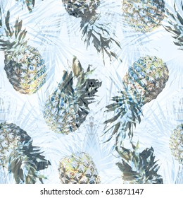Pineapple pattern with palm leaves seamless collage. Palm leaves seamless pattern. Tropical foliage photo collage artistic work for floral design and fashion textile blue effect overlay.