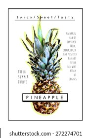Pineapple print,trendy fashion graphic.