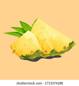 Pineapple slices with green leaves.