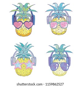 Pineapple with sunglases and headphones, illustration.