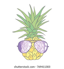 Pineapple with sunglases and headphones. Summer consept,  illustration.