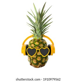 pineapple with sunglasses and headphones on white background 3d rendering