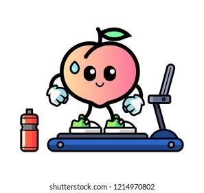 Pineapple walking on treadmill mascot cartoon illustration