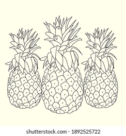 pineapples with line art design