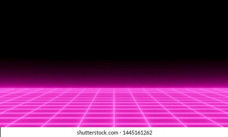 Ping neon grid, futuristic background, front view. Perspective digital poster with space for text, horizontal glowing wallpaper.