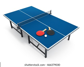 Ping pong table, rackets and ball. 3D illustration