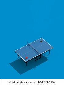 Ping-pong posters design. Table and rackets for ping-pong. 3d illustration