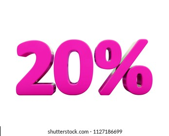 Pink 20% Percent Discount Sign, Sale Up to 20%, 20% Sale, Spring Special Offer, Money Smarts Sticker,  Save On 20% Icon, % Off Tag, Valentines Day, 3d Percent, Pink Sale, Low-Priced, 3d % Sign, Reduce