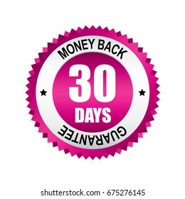 Pink 30 days money back,guarantee badge, button with silver border.