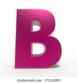 pink ABC, letter B isolated on white background