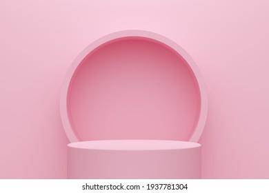 Arrière-plan abstrait rose avec podium et cadre cylindrique. Rendu 3d