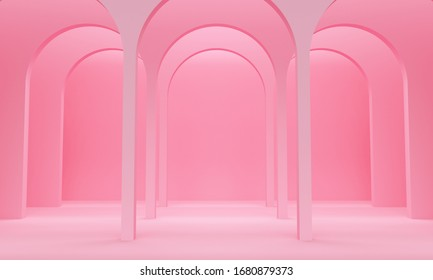 Pink abstract background with a row of arches and upper light. Backdrop design for product promotion. 3d rendering