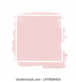Pink abstract texture geometric background. Paint brush texture over square frame. Perfect watercolor design for headline, logo and sale.