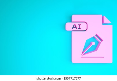 Pink AI file document. Download ai button icon isolated on blue background. AI file symbol. Minimalism concept. 3d illustration 3D render
