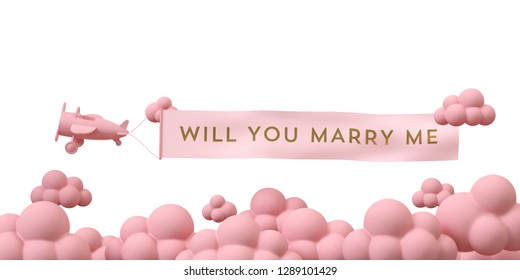 """Pink air plane fly on sky with pink cloud. Word on flag """"will you marry me"""" on white background.  3d rendering illustration."""