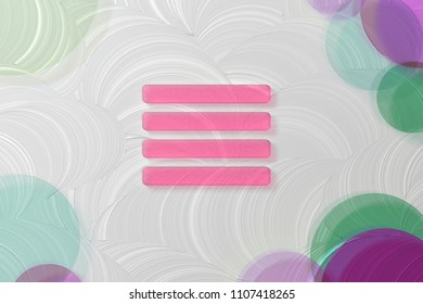 Pink Align Text to Justify Icon on the White Painted Oil Background. 3D Illustration of Pink Align, Alignment, Center, Hamburger, Justify, Menu, Text Icon Set on the White Background.