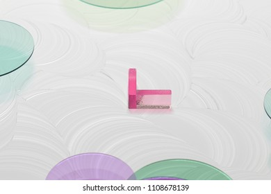 Pink Angle Down Glass Icon on the White Background. 3D Illustration of Pink Angle, Arrow, Direction, Down, Download Icon Set on the White Painted Background.