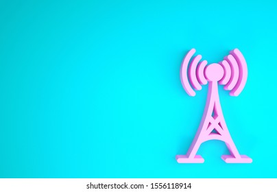 Pink Antenna icon isolated on blue background. Radio antenna wireless. Technology and network signal radio antenna. Minimalism concept. 3d illustration 3D render
