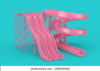 Pink Aquapark Water Slides Mock Up Duotone on a blue background. 3d Rendering