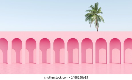 Pink arc column with colorful curtains and tropical home plant for retro poster like stranger things. 80s 70s 60s California Miami. 3d rendering. 3d image.