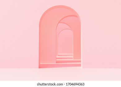 Pink arch wall background, Modern design concept, 3D Rendering.